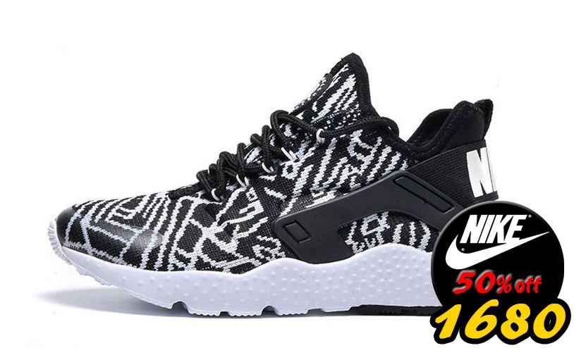 歲末出清Nike air huarache run ultra breathe 三代黑白武士 跑步慢跑鞋 情侶鞋【T51】