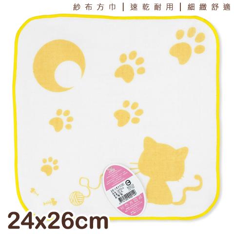 【esoxshop】純棉 紗布方巾 貓咪月亮款 台灣製 雙鶴 SHUANG HO