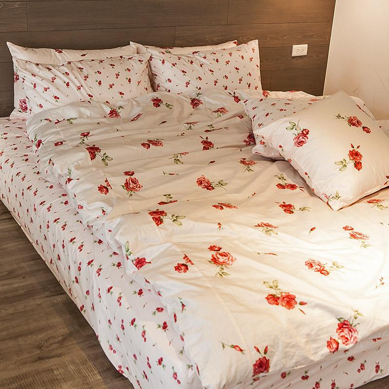 新品!床包 / 雙人【玫果雪酪-粉】含兩件枕套,100%精梳棉,在巴黎遇見系列,浪漫碎花,戀家小舖台灣製