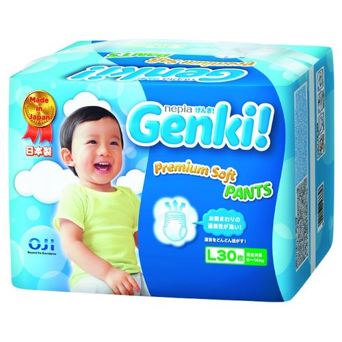 ★衛立兒生活館★日本境內 王子 Genki! 元氣褲(紙尿布)-L30片(6包箱購)