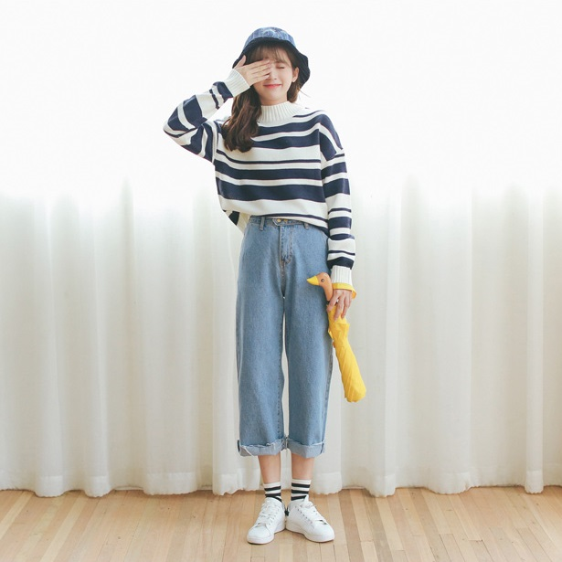PS Mall 秋裝新品韓版寬鬆毛邊高腰直筒雙扣闊腿牛仔褲長褲【T2613】