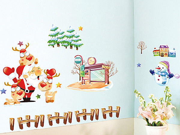 BO雜貨【YV2905】可移動 時尚組合壁貼 牆貼 壁貼紙 創意璧貼 聖誕佈置 聖誕麋鹿