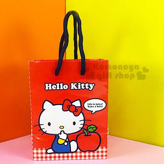 〔小禮堂〕Hello Kitty 直式提袋《小.紅.側坐.咬手指.蘋果》送禮包裝最方便
