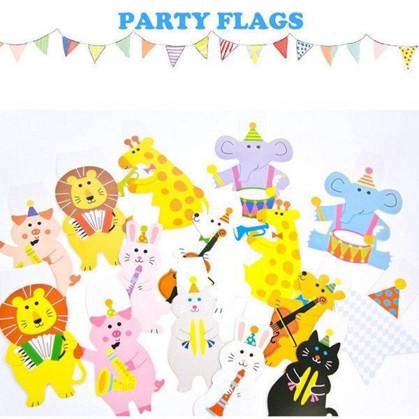 =優生活=卡通可愛小動物三角旗派對裝飾生日聖誕節慶聚會卡片 生日 派對 嬰兒房佈置 幼兒園 表演裝飾 學校園遊會 野餐佈置