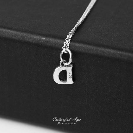 925純銀項鍊 簡單大方英文字母D造型頸鍊短鍊 流行自我風格 抗過敏設計 柒彩年代【NPB28】