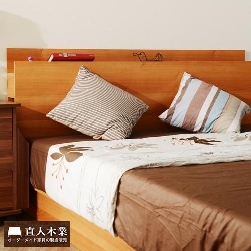【日本直人木業】6尺原木色雙人加大床架簡約收納功能