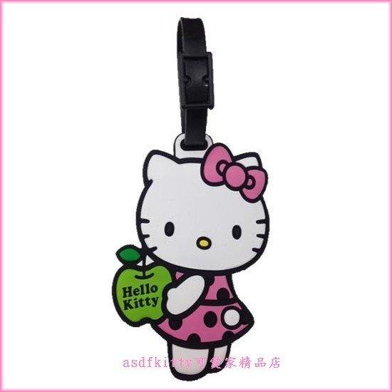 asdfkitty可愛家☆KITTY青蘋果超大型姓名吊牌/行李吊牌-很大很明顯-書包.補習袋都可用-日本正版商品