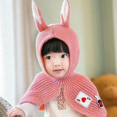 寶寶帽 兔耳朵毛線連帽圍脖 針織披肩 (1-3歲 )  BU12104