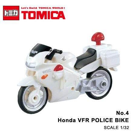 日貨 TOMICA No.4 Honda VFR POLICE BIKE 本田警用重型機車 真車系列 汽車模型 多美小汽車【N201638】