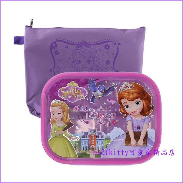 asdfkitty可愛家☆迪士尼小公主蘇菲亞樂扣型有蓋304不鏽鋼餐盤便當盒-附外出袋-韓國製