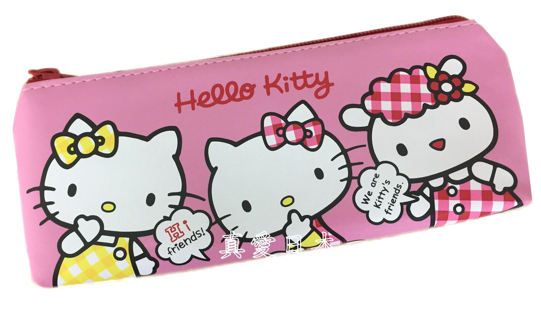 【真愛日本】16070700003皮質三角筆袋-姐妹與好友粉    KITTY 凱蒂貓 三麗鷗 文具用品 鉛筆盒 收納