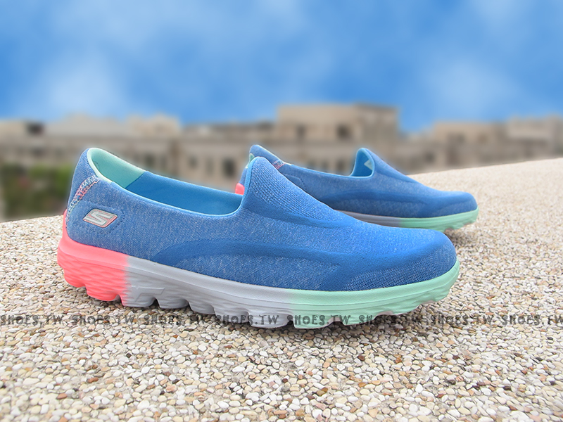 Shoestw【81075LBLMT】SKECHERS 中童鞋 GoWalk2 超軟Q底 水藍 桃紅 好穿脫