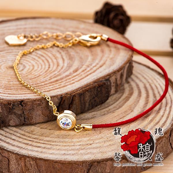 電鍍【真愛水鑽紅線手鍊】桃花 財運 編織 紅線 手環 開運  含開光 馥瑰馨盛NS0269