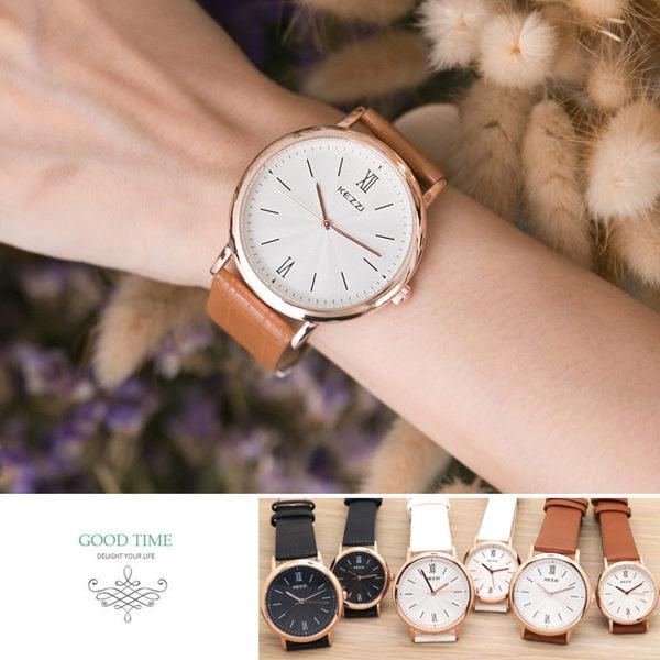 《好時光》香港品牌 KEZZI  玫瑰金框 簡約線條刻度 立體波紋面 皮錶帶  女錶 男錶 對錶-單支價格