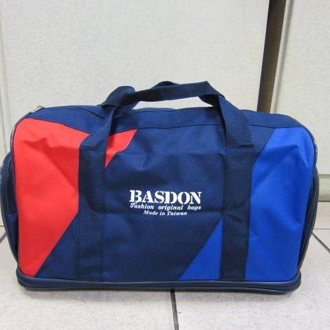 ~雪黛屋~BASDON 雙層加大旅行袋 工具袋 摺疊旅行袋MIT製外出旅遊工作上班防水尼龍布#417紅藍