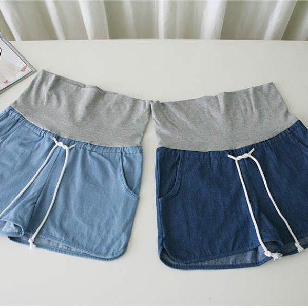 *漂亮小媽咪*漾感青春單寧綁帶口袋寬鬆牛仔短褲孕婦托腹褲孕婦褲熱褲 EB1077
