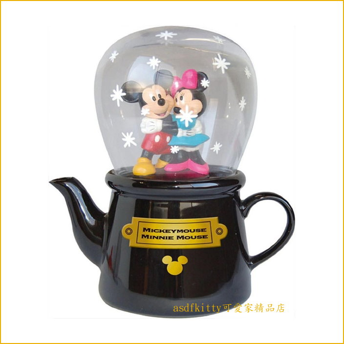 asdfkitty可愛家☆迪士尼米奇米妮陶瓷杯壺組/下午茶組/茶壺跟玻璃杯-附瀘網-日本正版商品