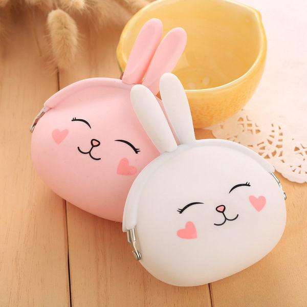 PS Mall 可愛矽膠零錢包卡通小兔子鑰匙包韓國糖果色軟綿硬幣包【J654】