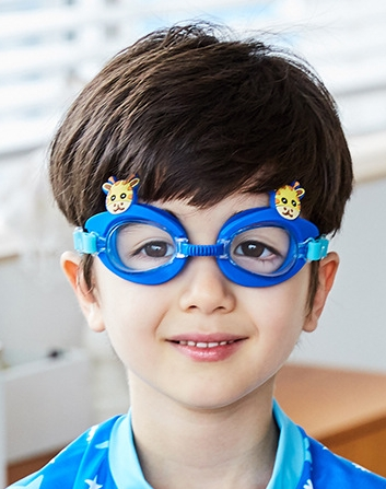 Kocotree◆可愛動物小鹿長頸鹿卡通造型兒童泳鏡防水護目鏡-藍色