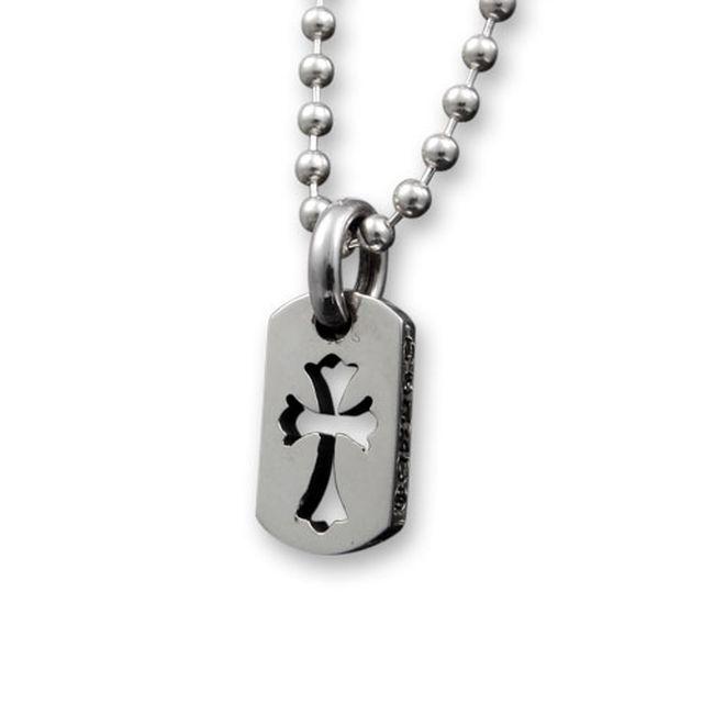 【海外訂購】【Chrome Hearts】迷你十字架鏤空純銀軍牌項鍊 Tiny cut out cross (CHDT-030 0310950000)