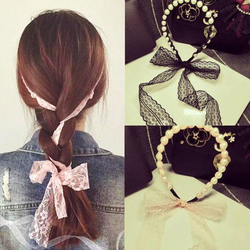 PS Mall 韓版仿珍珠纏繞蕾絲蝴蝶結編織髮帶 髮飾 髮圈【G1829】