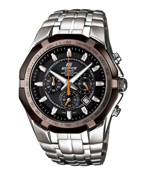 CASIO EDIFICE EF-540D-1A5尊爵棕三眼運動計時腕錶/黑面45mm