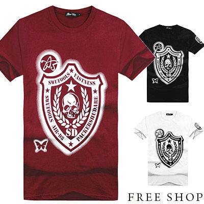 Free Shop【QR73905】日韓系骷髏頭盾牌印花圓領棉質短T短袖上衣潮T‧三色 MIT 台灣製