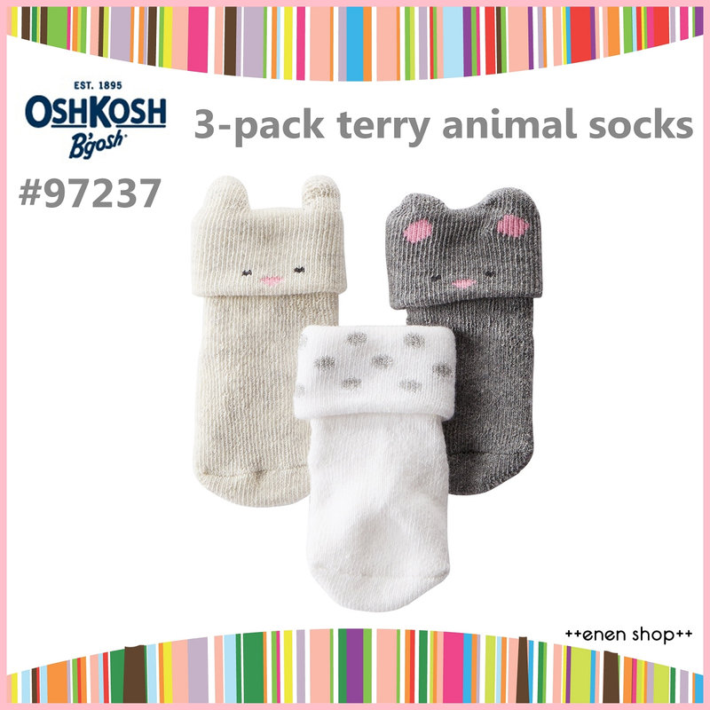 Enen Shop @OshKosh B'gosh 可愛動物/圓點嬰兒襪三件組 ∥ 0-3M 新生兒/彌月禮