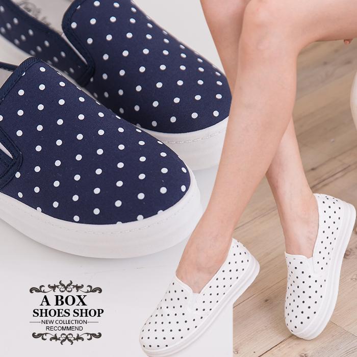 格子舖*【AR1517H】韓版優質 俏皮可愛點點 鬆緊好穿脫 厚底休閒便鞋懶人鞋 樂福鞋 3色
