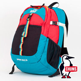 CHUMS SD登山背包25L-T010藍綠/紅(附腰包) 登山 健行 旅遊
