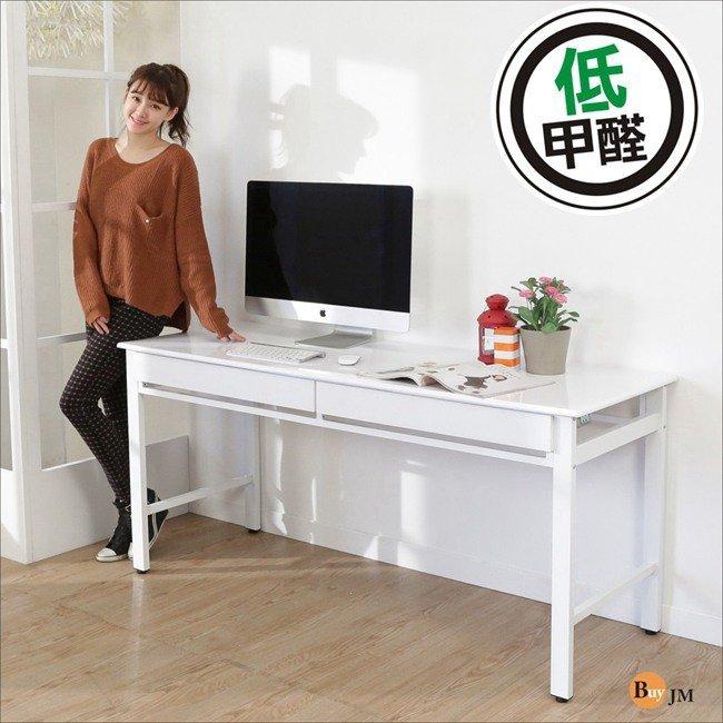 寬160CM環保低甲醛熱壓成型鏡面雙抽工作桌/電腦桌 型號D160WH-2DR