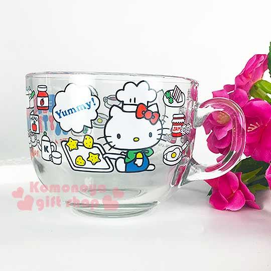 〔小禮堂〕Hello Kitty 玻璃湯杯《透明.側坐.廚師帽.食物.500ml》