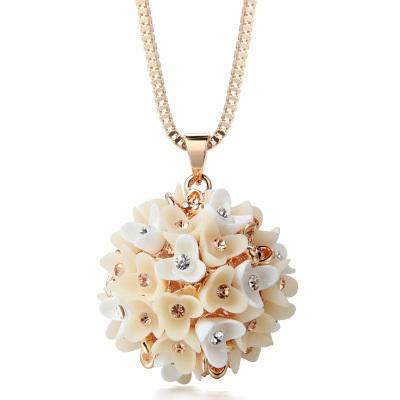 鑲鑽項鍊毛衣鍊-優雅氣質花朵球女飾品73fv6【獨家進口】【米蘭精品】