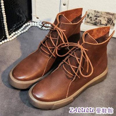JE092 現貨 韓版帥氣名模軟皮系帶素面厚底短靴-偏小-黑39/棕39