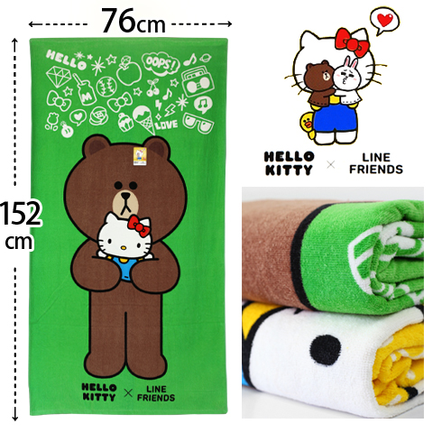 【esoxshop】Hello Kitty x Line Friends 純棉剪絨浴巾 抱抱款 三麗鷗 Sanrio