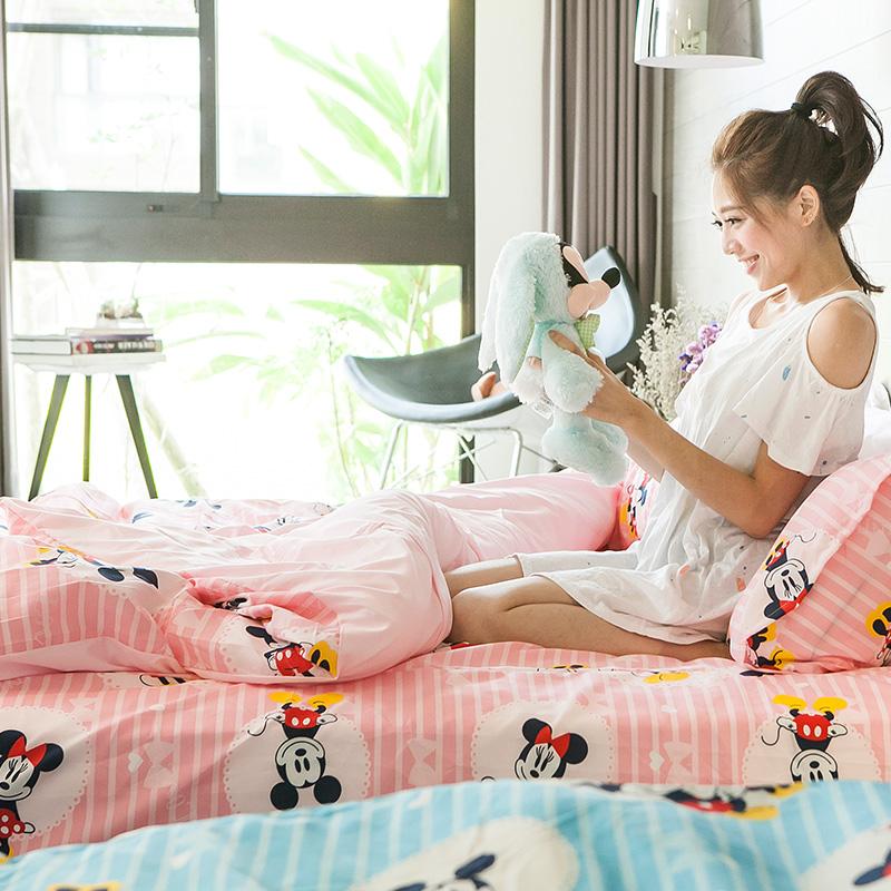 新品!床包 / 單人【米奇手牽手-粉】含一件枕套,磨毛多工法處理,迪士尼正版授權,戀家小舖台灣製