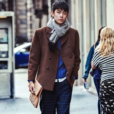 毛呢外套 短款大衣-撞色拼接雙排釦修身男風衣72e19【獨家進口】【米蘭精品】