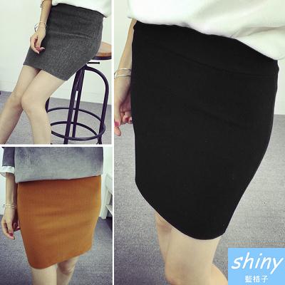 【V0375】shiny藍格子-時尚穿搭.純色美型加厚包臀短裙