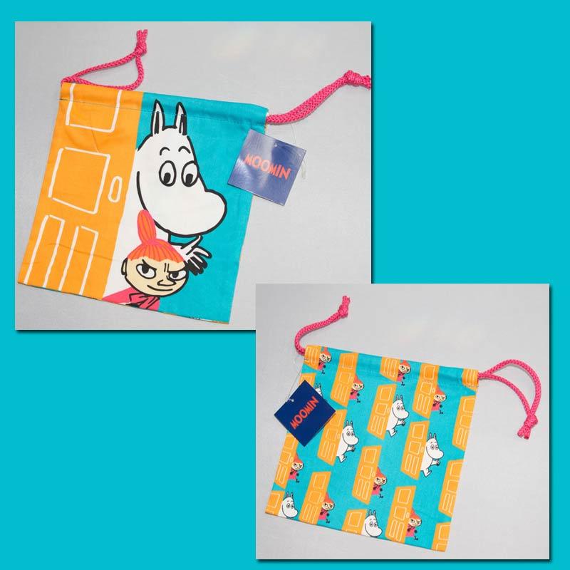 MOOMIN 嚕嚕米 雙面 綿布束口袋 日本帶回正版商品