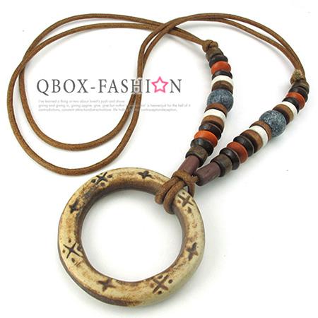 《 QBOX 》FASHION 飾品【W10024732】精緻個性復古原住民配飾圓圈石雕棉繩墬子項鍊