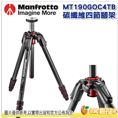 Manfrotto 曼富圖 MT190GOC4TB 190 go ! 碳纖維 四節腳架 旋鈕式腳管鎖 正成公司貨 腳架 低角度拍攝 90度中柱可橫置