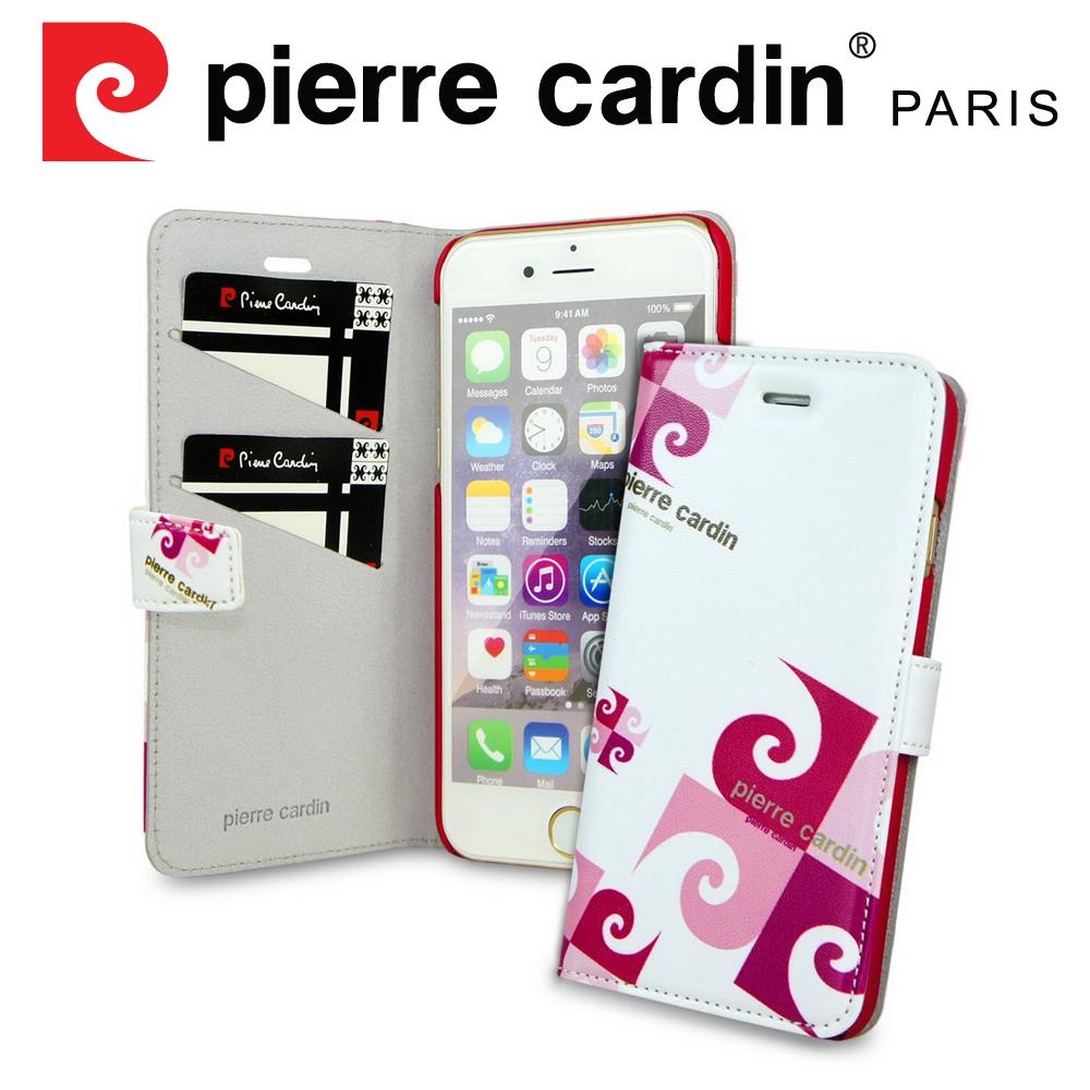 [ iPhone SE/5/5S ] Pierre Cardin法國皮爾卡登4吋玩趣LOGO書本側翻式手機套/保護套/皮套 紅色