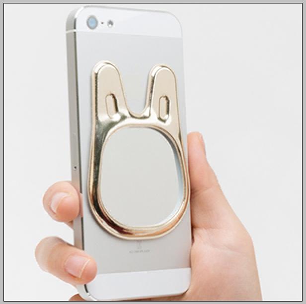 兔子造型玻璃貼鏡 iphone7 android智慧型手機 可重複黏貼 無殘膠 紅 咖啡 金 黑4色供選擇 隨時注意自己儀表妝容不失真【Limiteria】