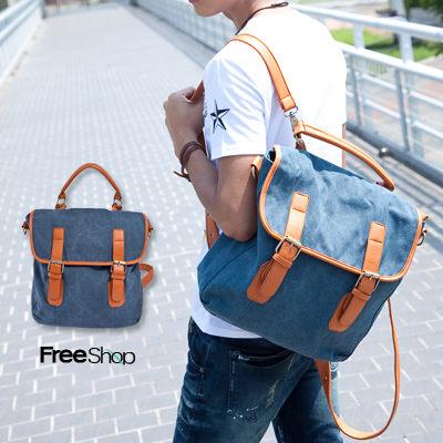 Free Shop【QI3606】休閒outdoor質感駝色皮革接帶設計仿牛仔帆布料肩斜側後背包‧三色 現+預