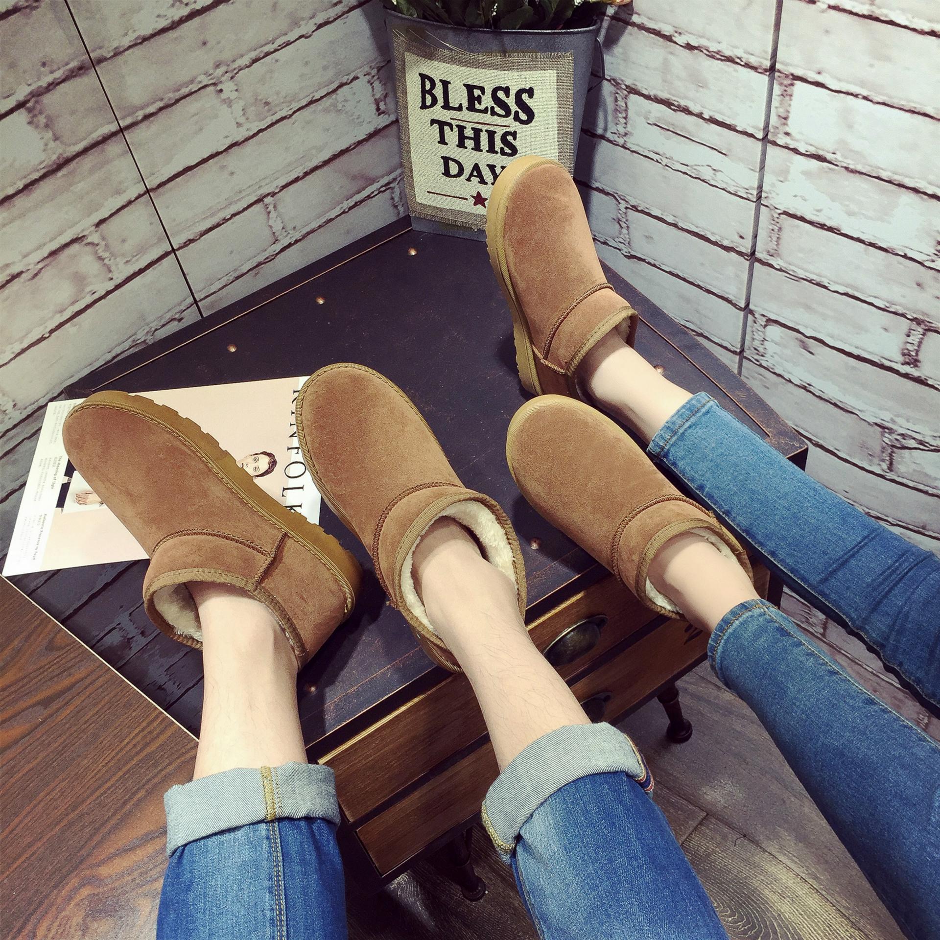 2017情侶鞋短靴大碼男鞋平底毛毛舒適雪地靴情侶款套腳棉鞋情侶鞋室內室外皆可穿