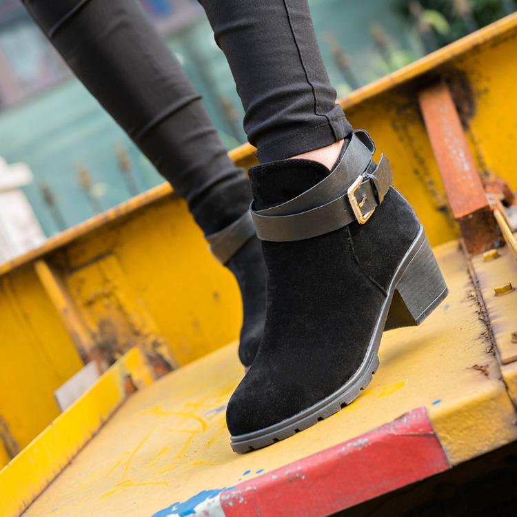 2016秋冬季新款歐美高跟粗跟皮帶扣馬丁靴韓版短筒裸靴時尚女短靴磨砂皮