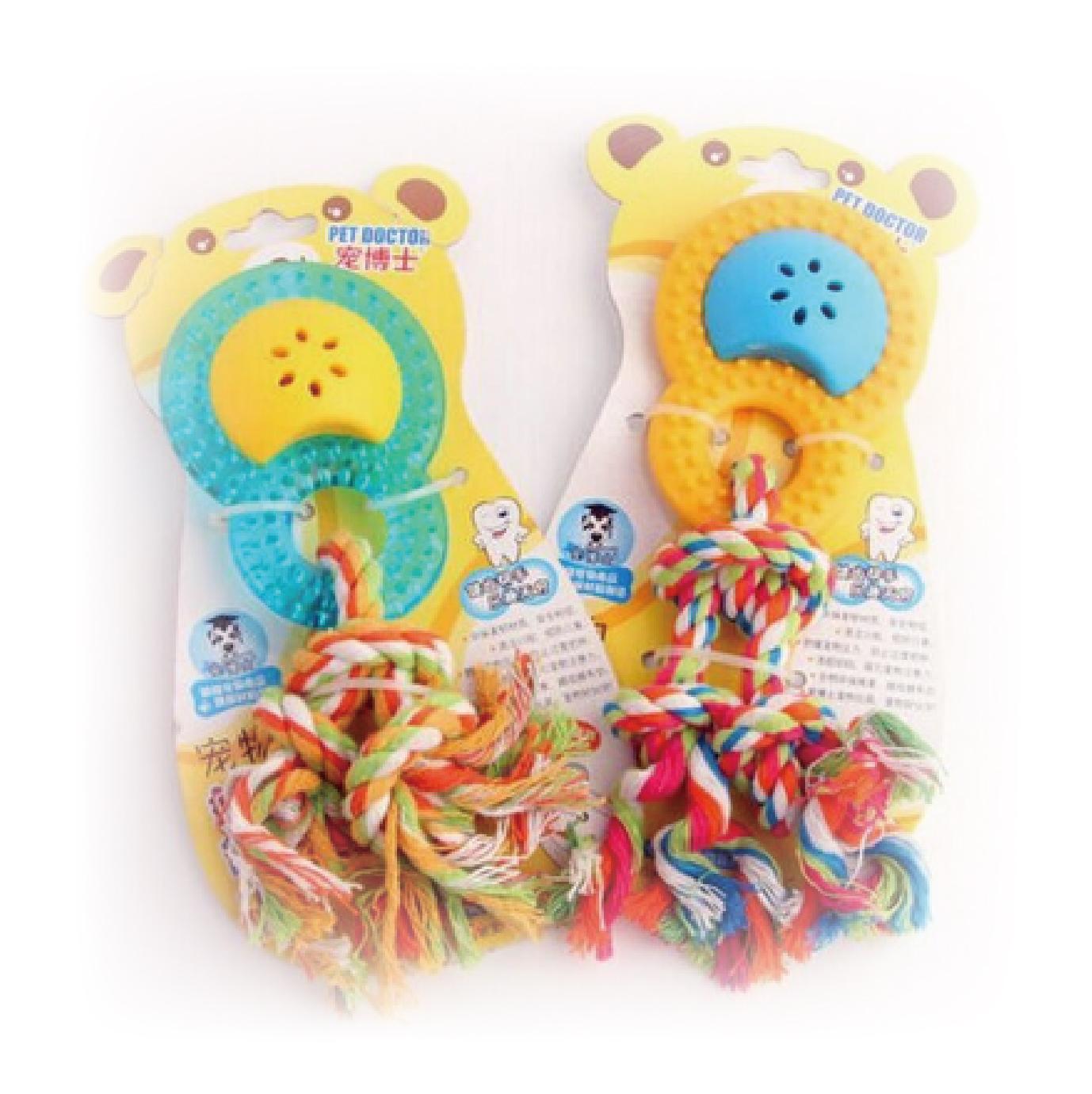 大號8字型有聲磨牙玩具-藍+黃