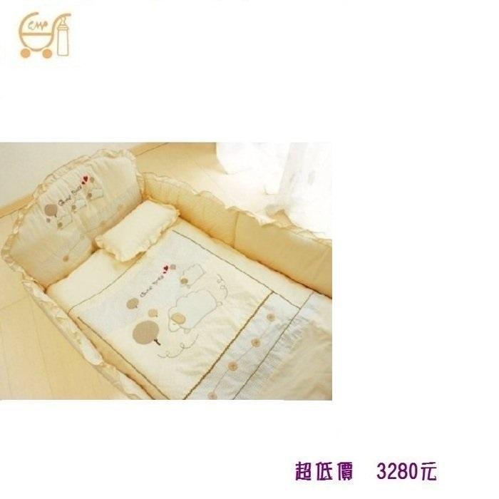 *美馨兒* 東京西川 GMP Baby-[數羊寶寶]抗蹣菌七件組/嬰兒床組/米色 3280元