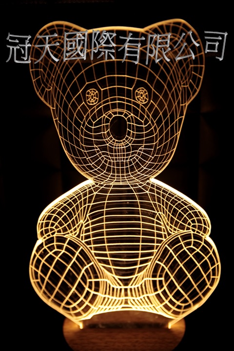 LED 造型 3D立體燈 泰迪熊造型 木質底座  小夜燈 氣氛燈 造型燈 USB 生日禮物 聖誕禮物