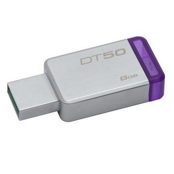 *╯新風尚潮流╭* 金士頓 隨身碟 DT50 USB 3.1 8G 紫標 無蓋式設計 金屬外殼 DT50/8GB